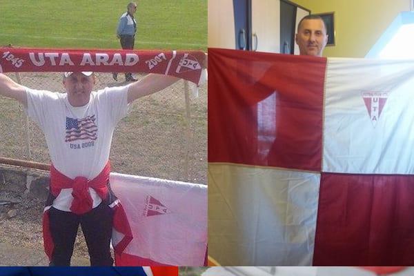 """Carășeanul Ion Izvernari și-a recuperat steagul """"alb-roșu"""" cu ajutorul liderului galeriei reșițene: """"Pentru mine doar UTA contează!"""""""