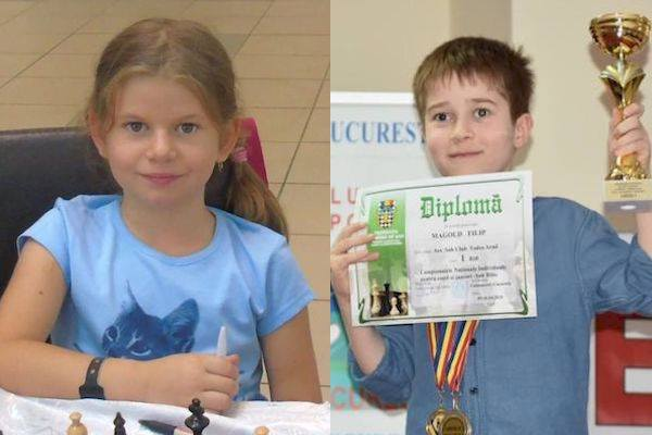 """Arădenii au strălucit la """"naționalele"""" de șah pentru copii și juniori: Sida și Magold - aur la Under 10"""