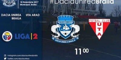 Livetext, ora 11.00: Dacia Unirea Brăila – UTA, 0-0