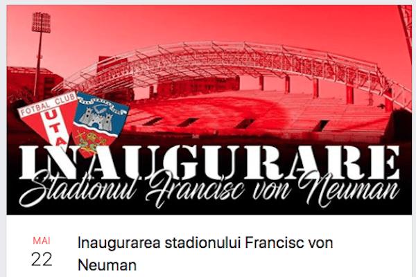 """Utiștii – la """"sărbătoarea"""" inaugurării stadionului """"Francisc Neuman"""":  """"Veniți cu chef de cântat!"""""""