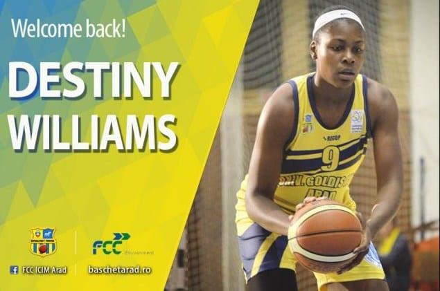 Destiny Williams revine sub panoul ICIM-ului: Americanca are prezențe și în FIBA EuroCup Women
