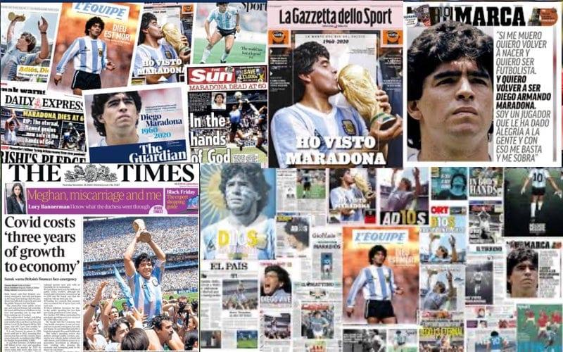 """Titlurile din presa mondială despre disparția lui Diego Armando Maradona: """"AD10S…in hands of God""""+ VIDEO + LIVE"""