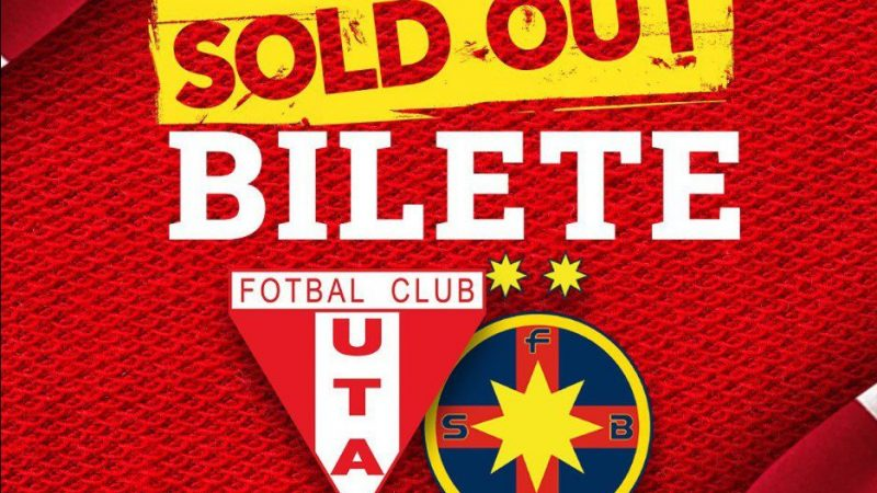 Biletele la meciul dintre UTA și FCSB s-au epuizat în mai puțin de două ore, arădenii speră să mai tipărească altele după relaxările anunțate de Guvern!