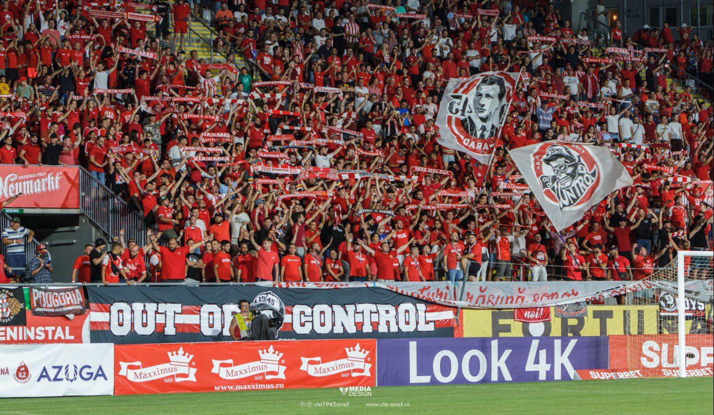 Biletele cu CSU Craiova se dau de miercuri, dar clubul UTA reia și vânzarea abonamentelor: Maximum 8500 de spectatori și cu oltenii!