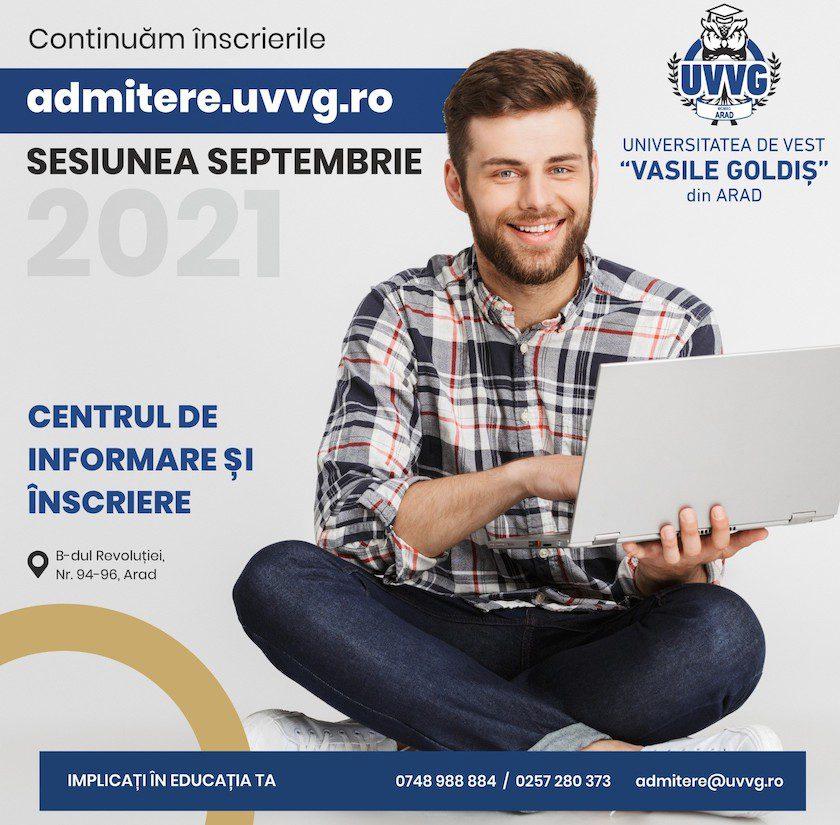 """Continuă înscrierile la UVVG. Viitorii studenţi ai Universităţii de Vest """"Vasile Goldiş"""" din Arad au la dispoziţie 43 de programe de licenţă şi 25 de masterat"""