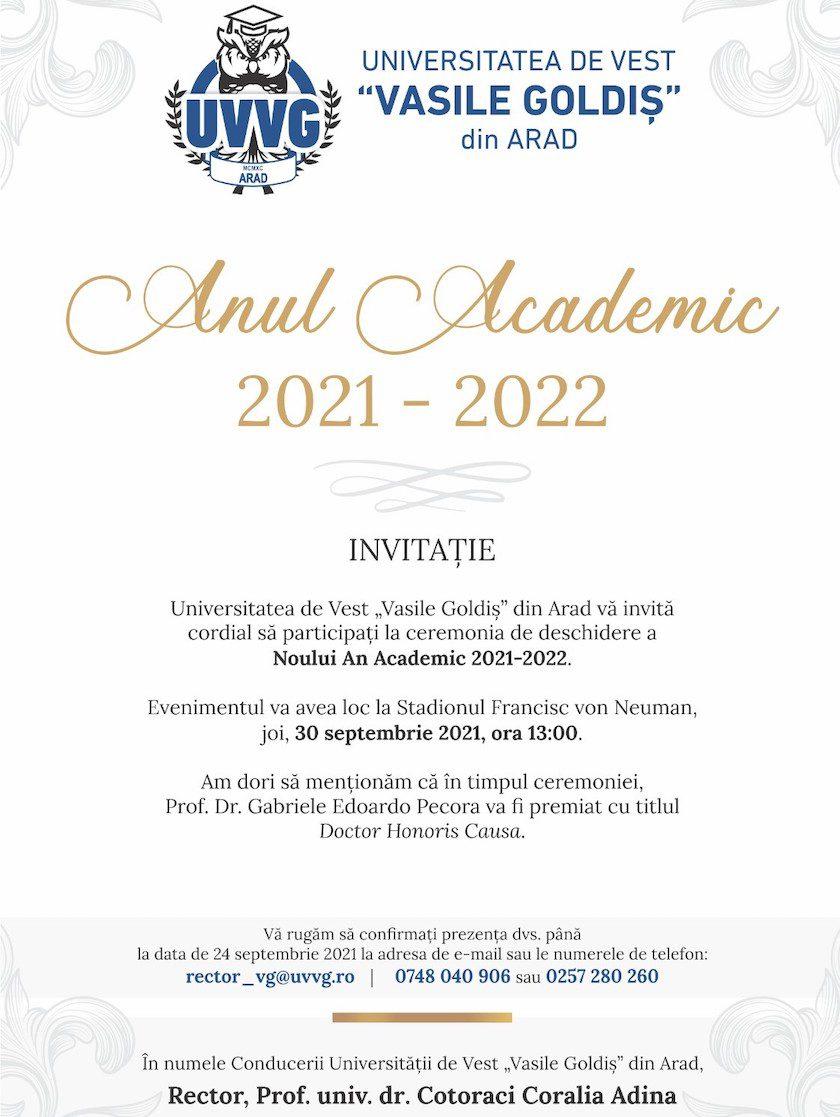 """Deschiderea anului academic are loc pe stadionul UTA!  Universitatea de Vest """"Vasile Goldiş"""" din Arad vă invită joi, 30 septembrie, ora 13, la ceremonia de deschidere"""